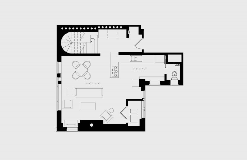 walton residence chicago penthouse two bedroom downstairs floor plan with 2 bedroom and 2.5 bath