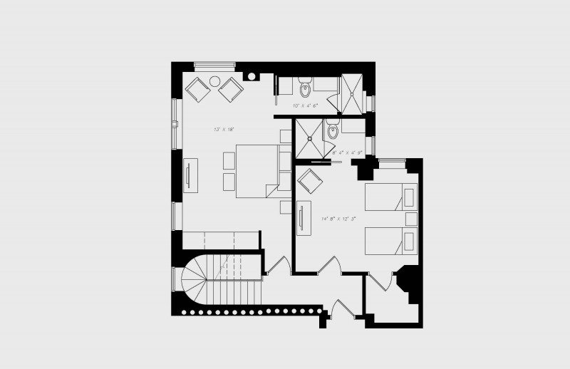 walton residence chicago penthouse two bedroom alternative upstairs floor plan with 2 bedroom and 2.5 bath