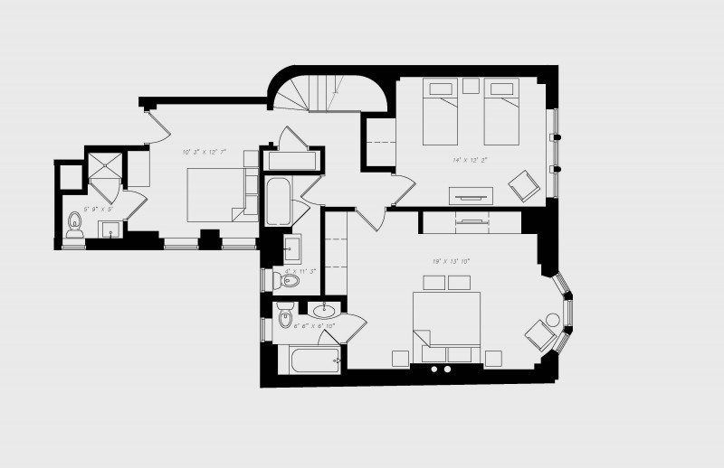 walton residence chicago three bedroom alt upstairs floor plan with 3 bedroom and 3.5 bath