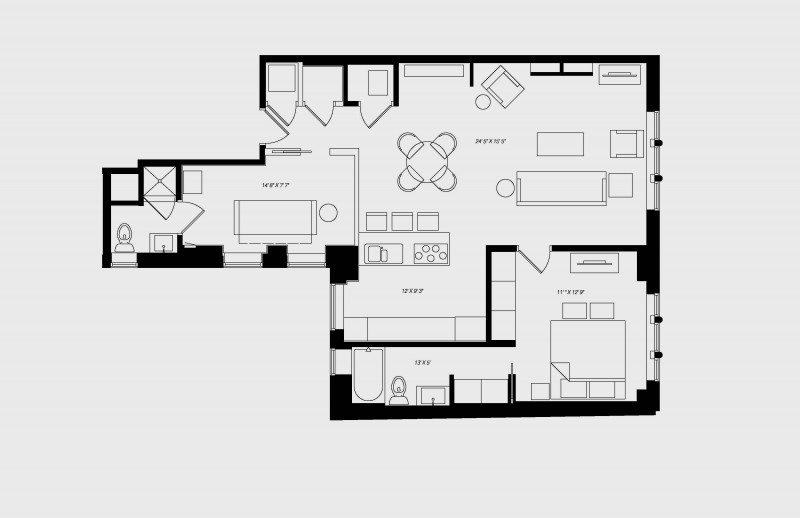 walton residence chicago non-standard two bedroom floor plan with 2 bedroom and 2-2.5 bath