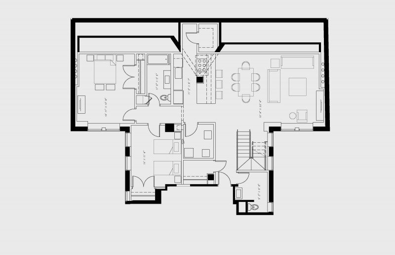 walton residence chicago penthouse three bedroom downstairs floor plan with 3 bedroom and 3.5 bath