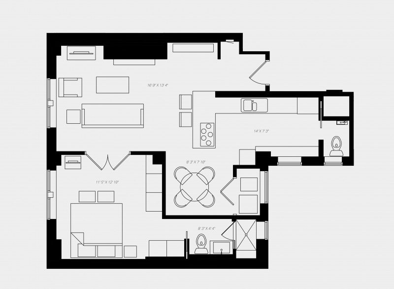 70 E Walton | Chicago Short Term Rentals Floor Plans