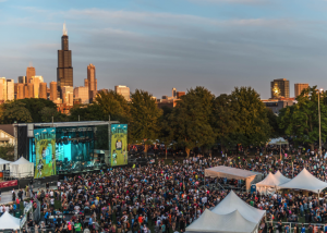 music festival with Chicago skyline
