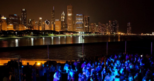 crowd at chicago lakefront at night