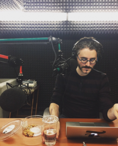 The Daily Show podcaster Michael Barbaro recording show